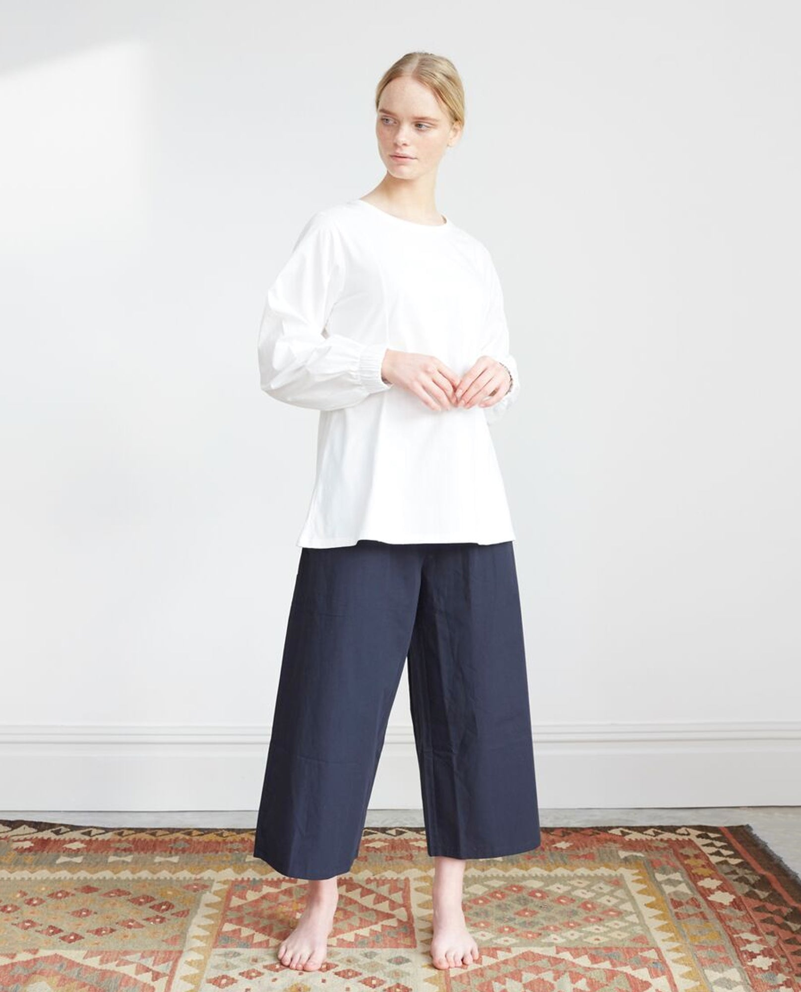 ADRIENNE Organic Cotton Trousers In Deep Indigo