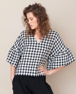 Rita-Gee Linen Top In Gingham