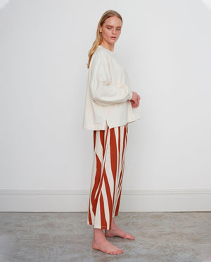 ADRIENNE-PAIGE Organic Cotton Trousers In Ecru & Rust
