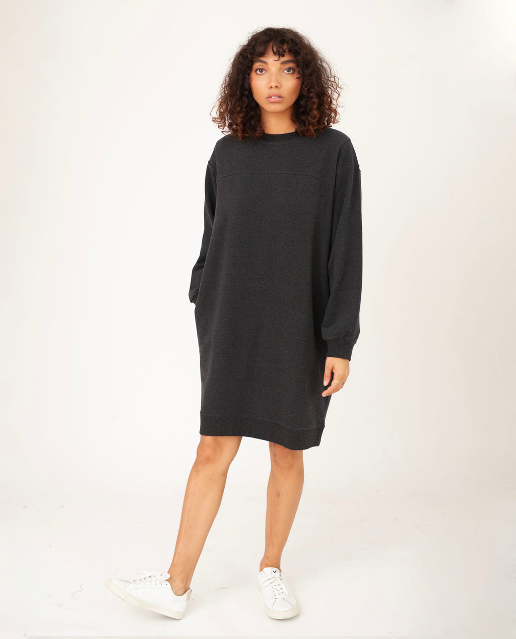 AGATHA Organic Cotton Dress In Grey Marl