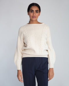 Aggie Lambswool Jumper In Chalk