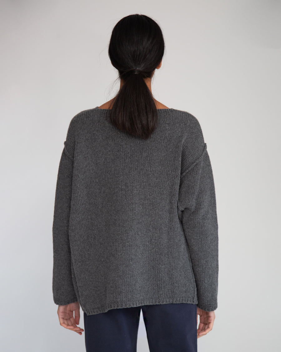 Alessandra-Rose Virgin Wool Jumper In Dark Grey Marl