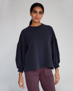 Amelia Organic Cotton Top In Navy