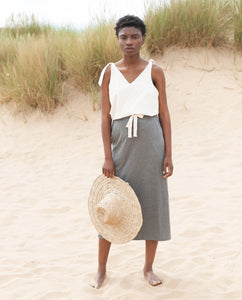 ANA-LOU Lyocell Skirt In Grey Marl