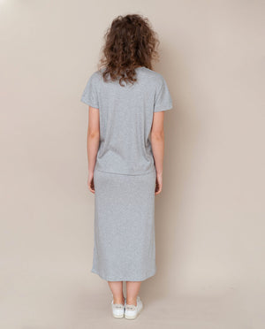 Ana-Lou Lyocell Jersey Skirt In Light Grey Marl