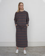 ANA-SUE Organic Cotton Skirt In Grey Marl & Cinnamon