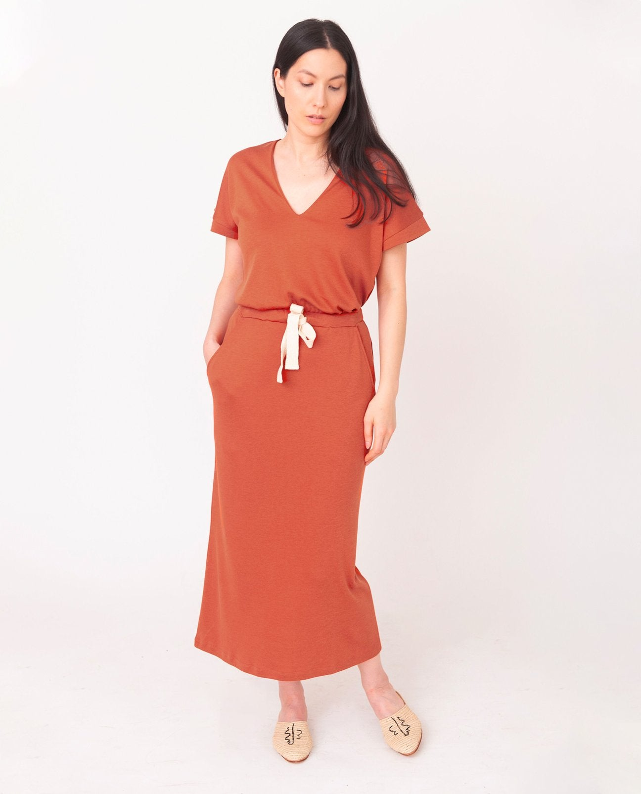 ANA-LOU Lyocell Skirt in Madder