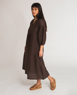 Andreia-May Linen Dress In Chocolate