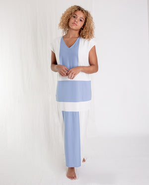 ANGELA Organic Cotton Dress In Cornflower And White