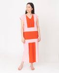 ANGELA Organic Cotton Dress in Tomato And Pink