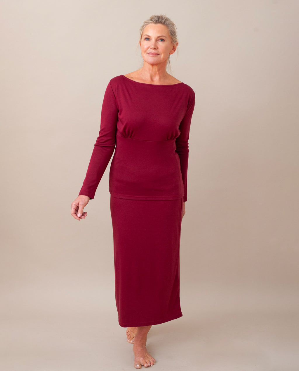 ANNE Lyocell Jersey Skirt In Burgundy