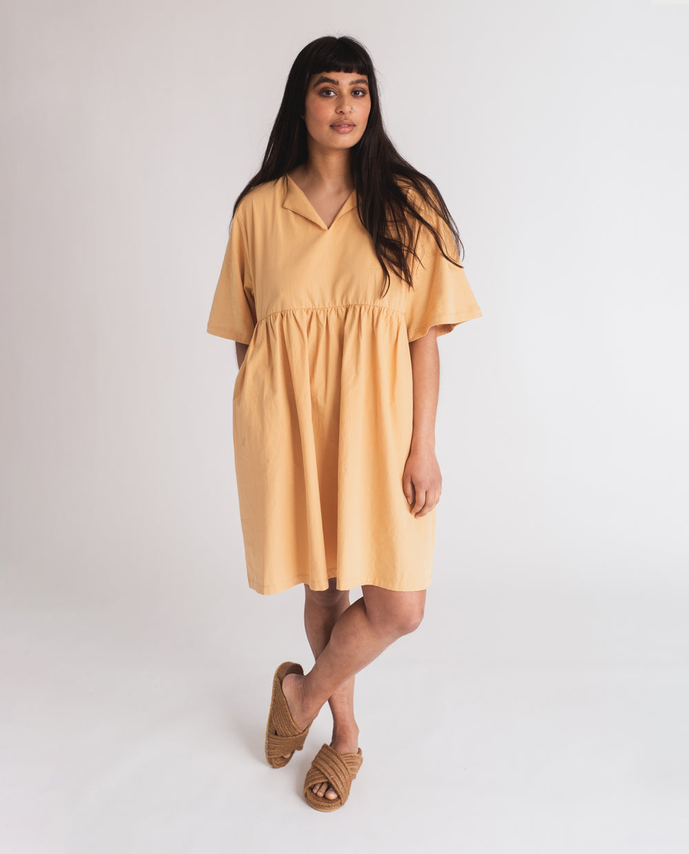 Anny Organic Cotton Dress In Gold