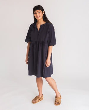 Anny Organic Cotton Dress In Navy
