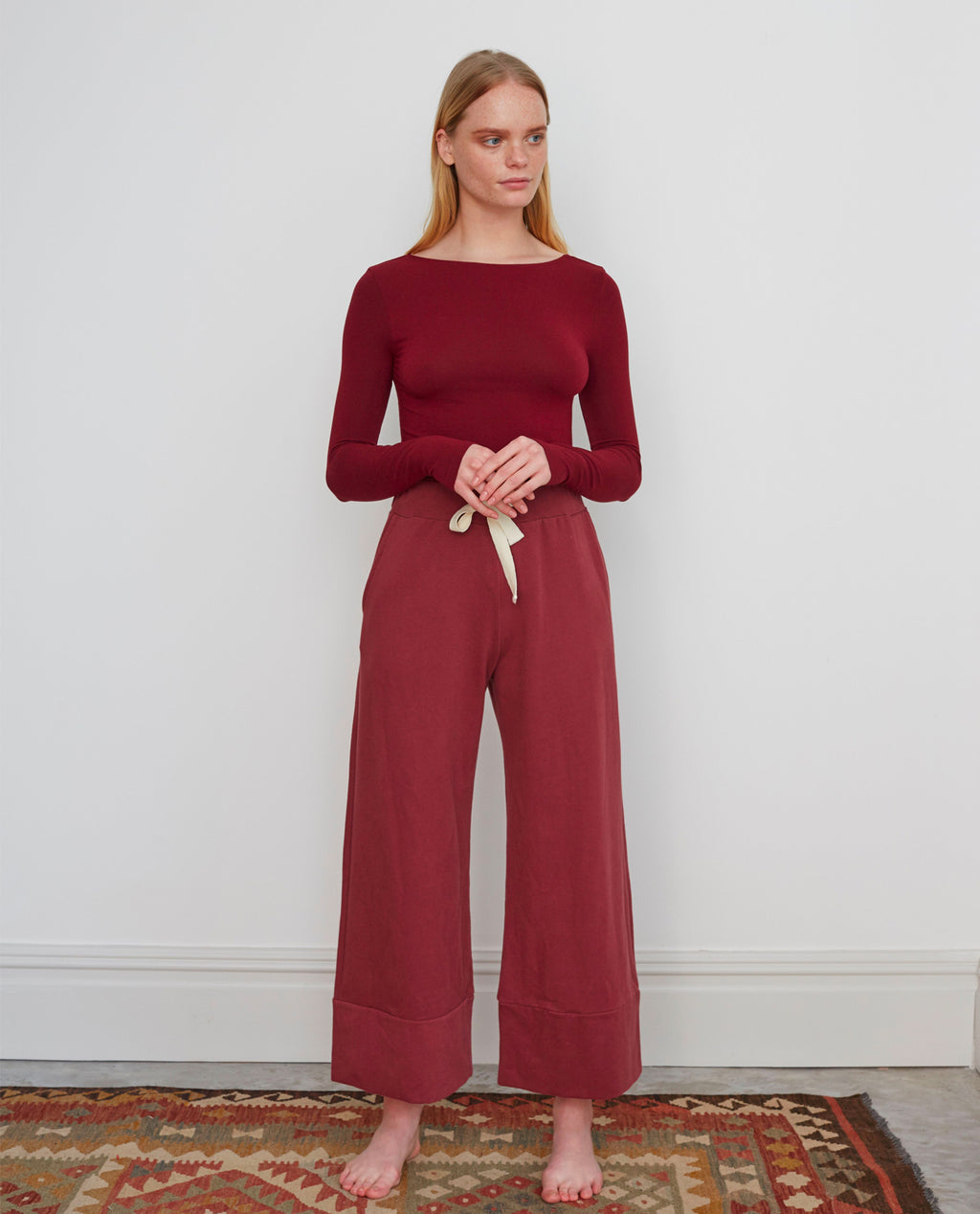 APHRA Organic Cotton Trousers In Burgundy