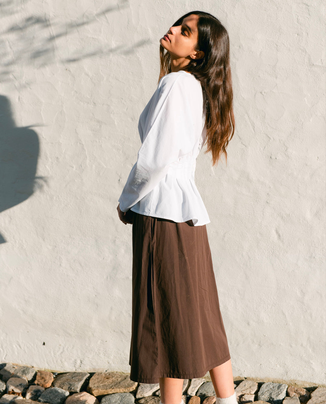 Ashley Organic Cotton Skirt In Chocolate