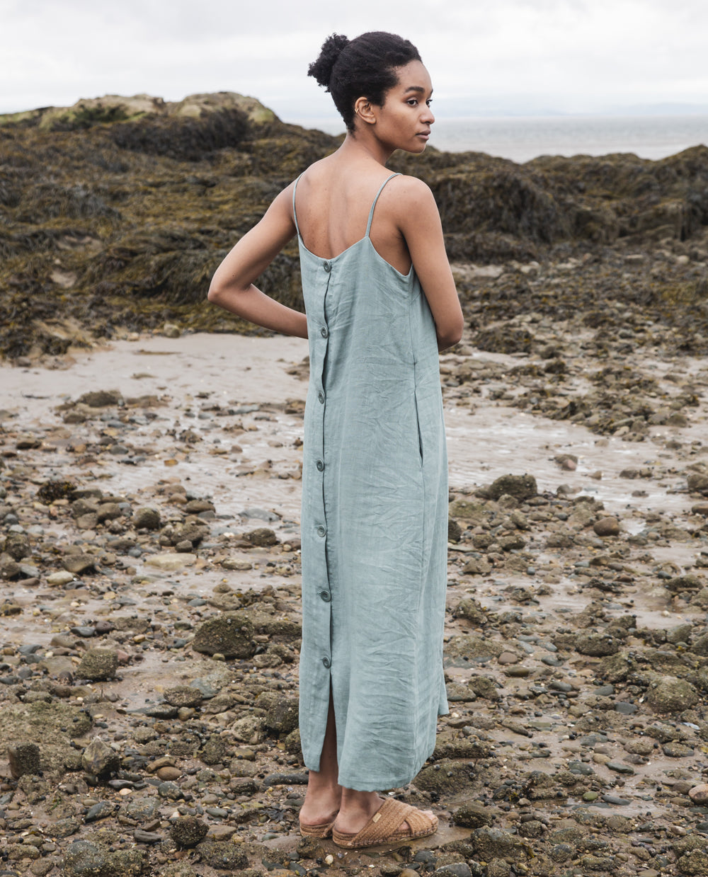 Athea Linen Dress In Ocean