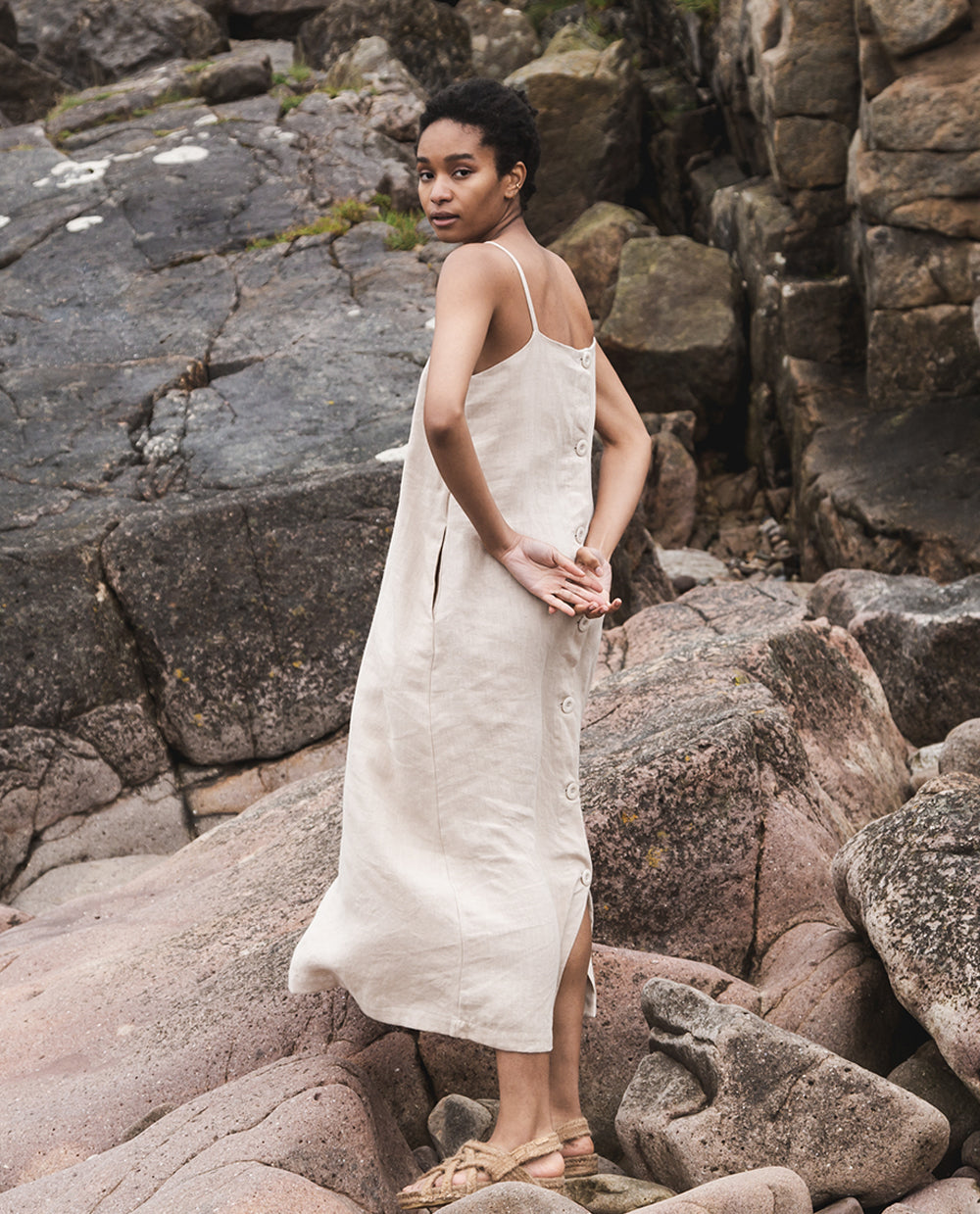Athea Linen Dress In Sand