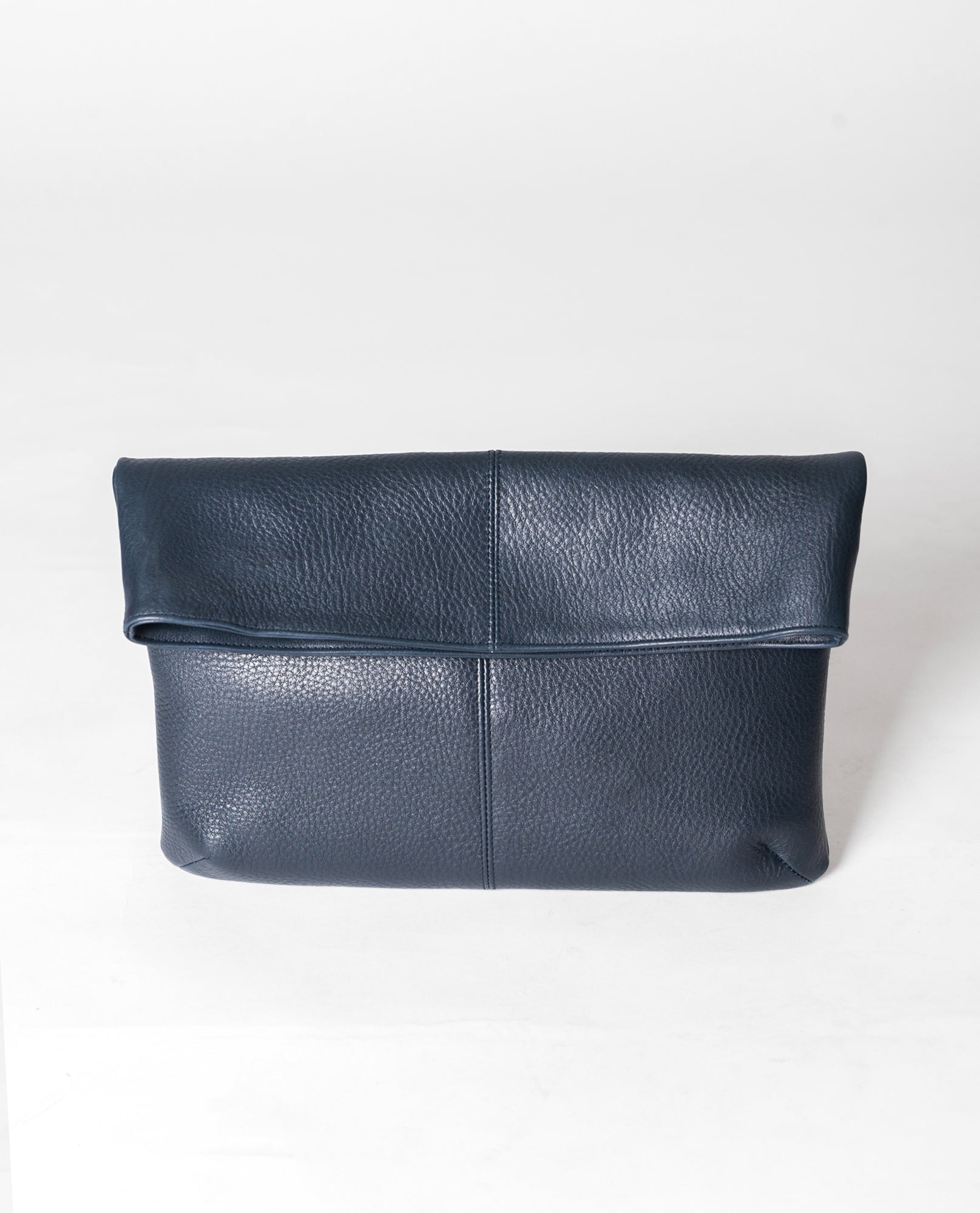 MONACO Leather Fold Over Clutch In Navy