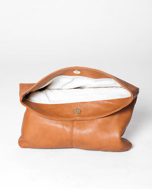 MONACO Leather Fold Over Clutch In Tan