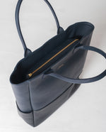 MONTPELLIER Leather Shopper Bag In Navy And Black
