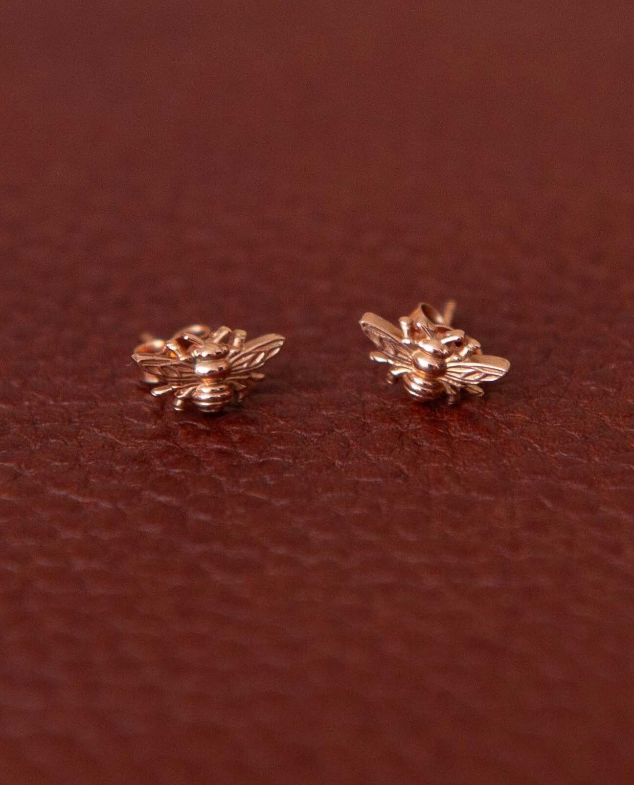 Bee Earrings in Recycled Rose Gold