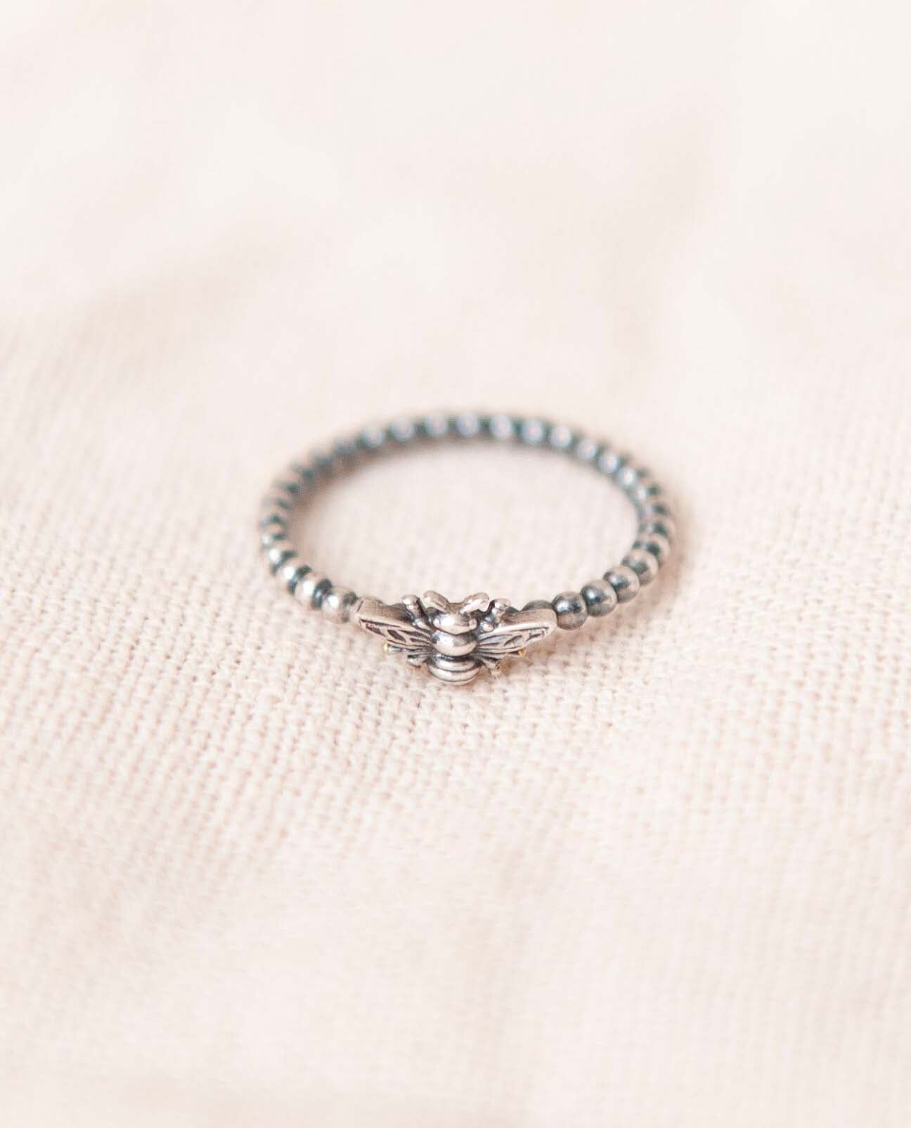 Bee Ring in Recycled Silver