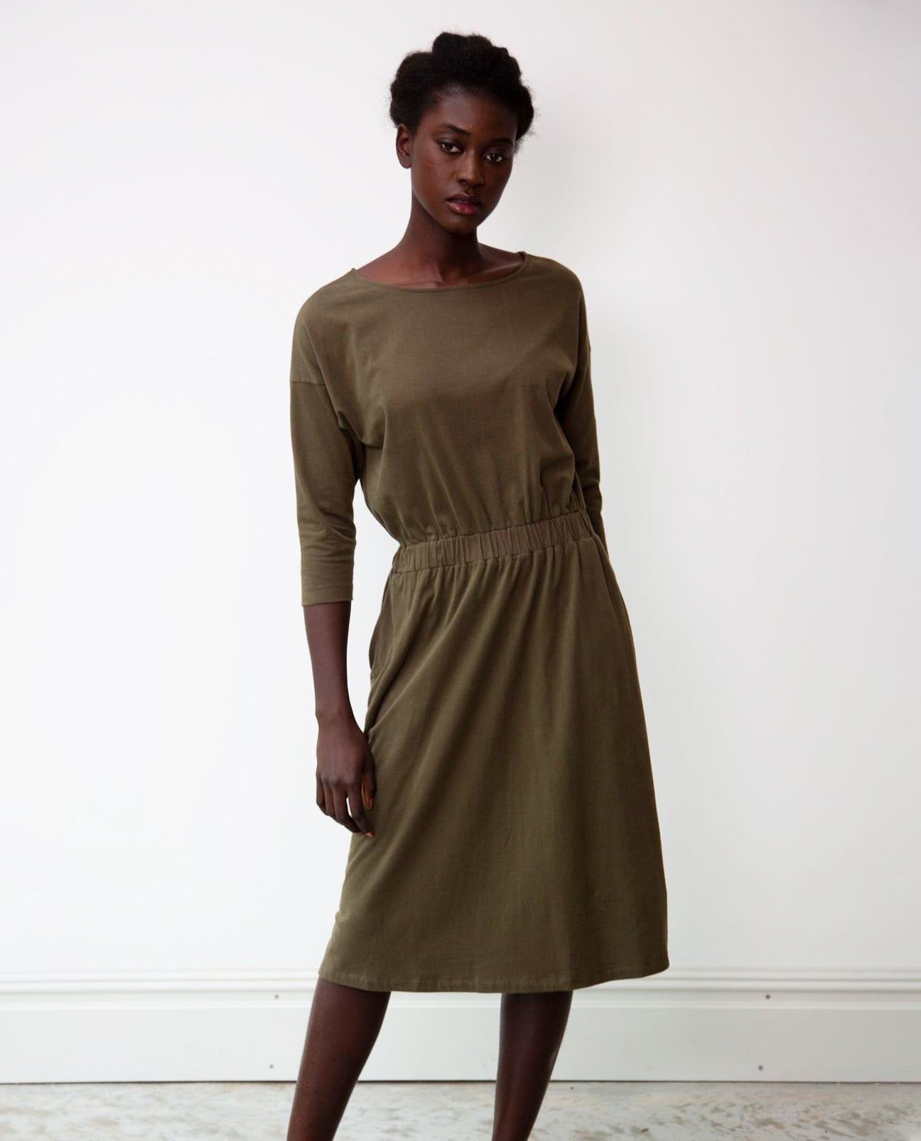 Bellamy Organic Cotton Dress In Army
