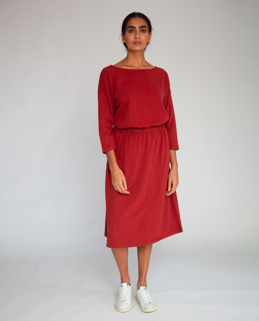 Bellamy Organic Cotton Dress In Rust