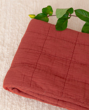 BENTO Organic Cotton Quilted Baby Blanket In Cinnamon