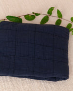 BENTO Organic Cotton Quilted Baby Blanket In Deep Indigo