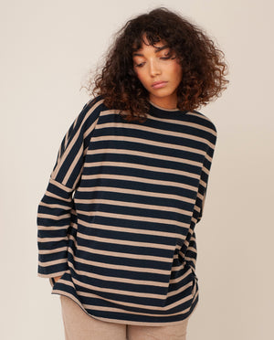 BILLIE Organic Cotton Top In Deep Indigo & Stone
