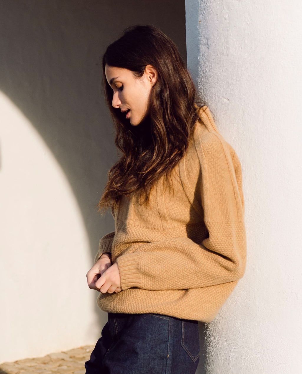 Blanche Lambs Wool Jumper In Brown Sugar