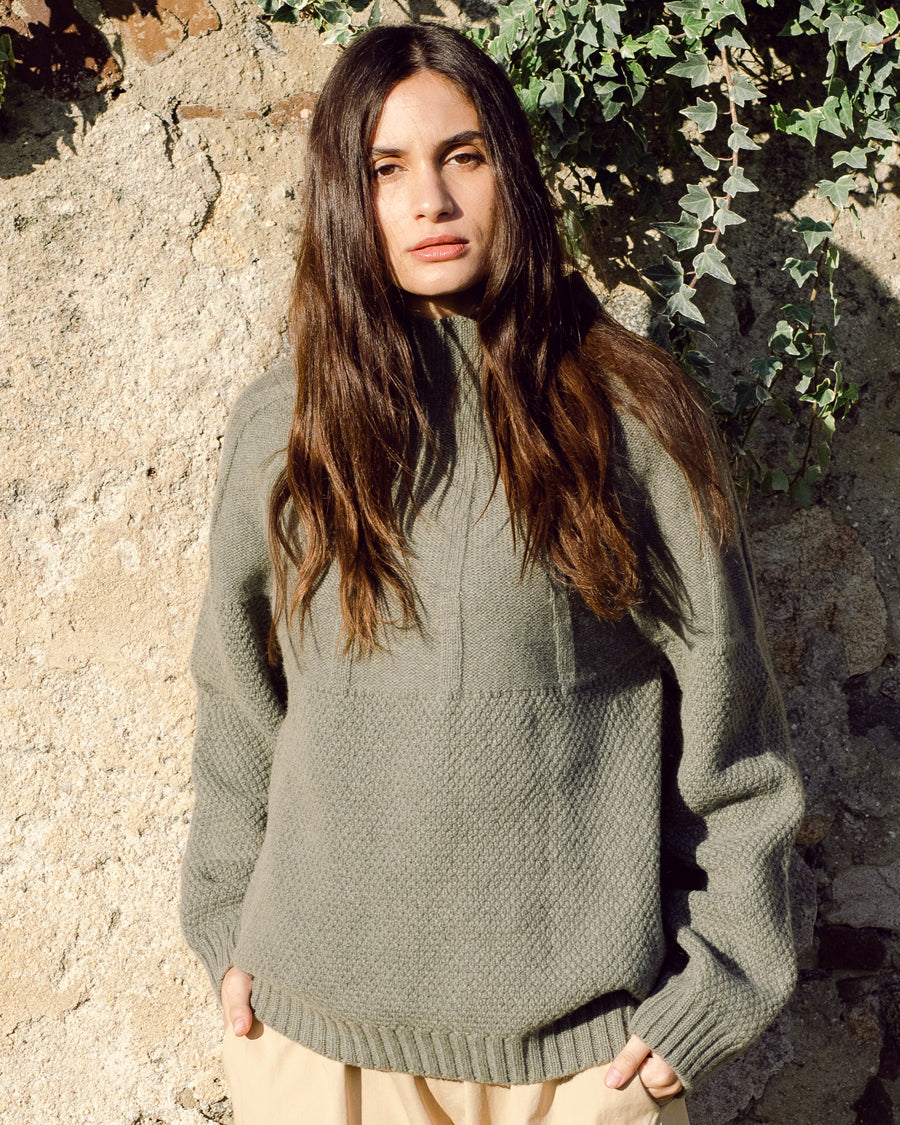 Blanche Lambswool Jumper In Moss