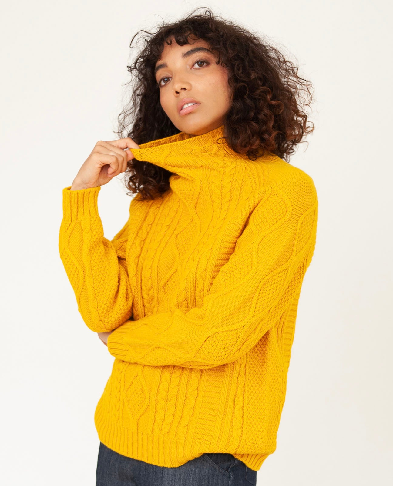 BLYTHE Superfine Lambswool Jumper In Golden Eye