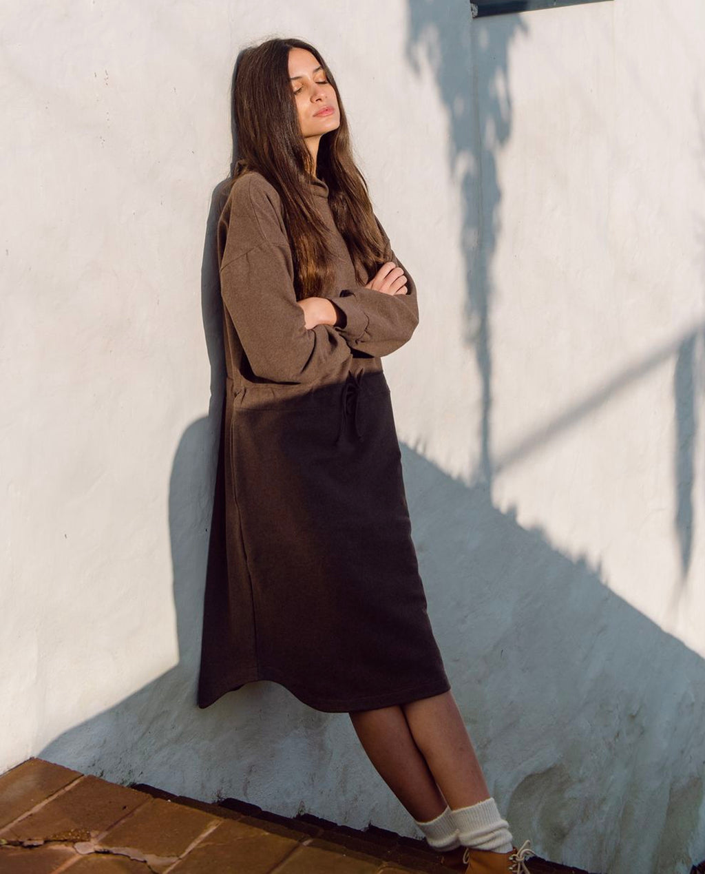 Bridget Organic Cotton Dress In Brown Marl
