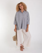 CANDICE-SUE Cotton Poplin Shirt In Navy And White