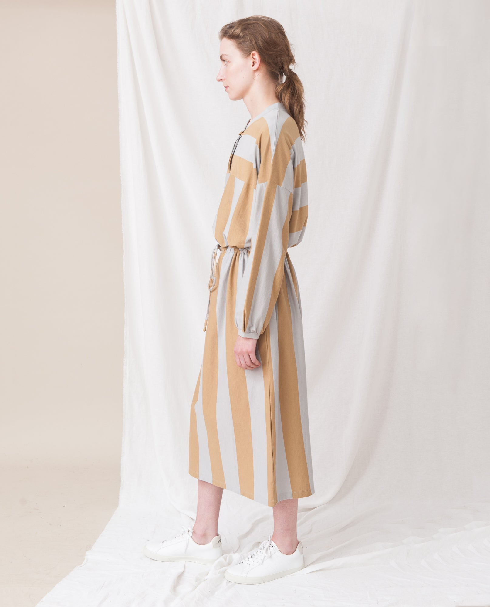 CARINA Organic Cotton Dress In Stone And Flint