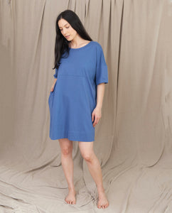 CARLA Organic Cotton Dress in Blue