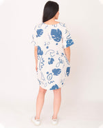 CARLA-PAIGE Organic Cotton Dress In Ecru And Blue
