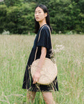 Long Strap Circle Basket Bag