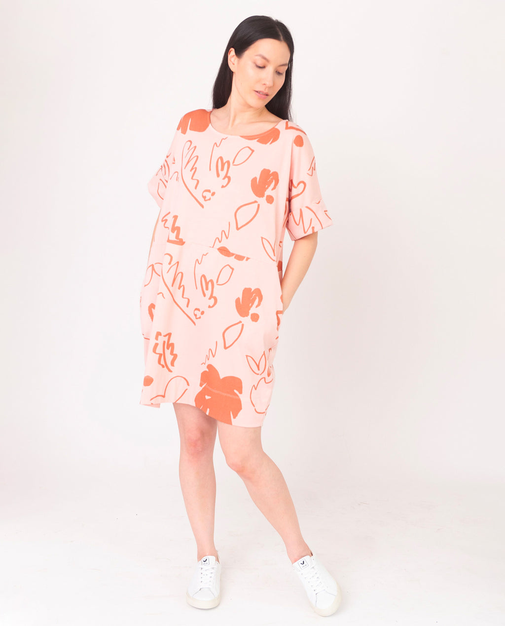CARLA-PAIGE Organic Cotton Dress In Coral And Terracotta