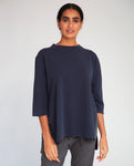 Corinne Organic Cotton Top In Navy