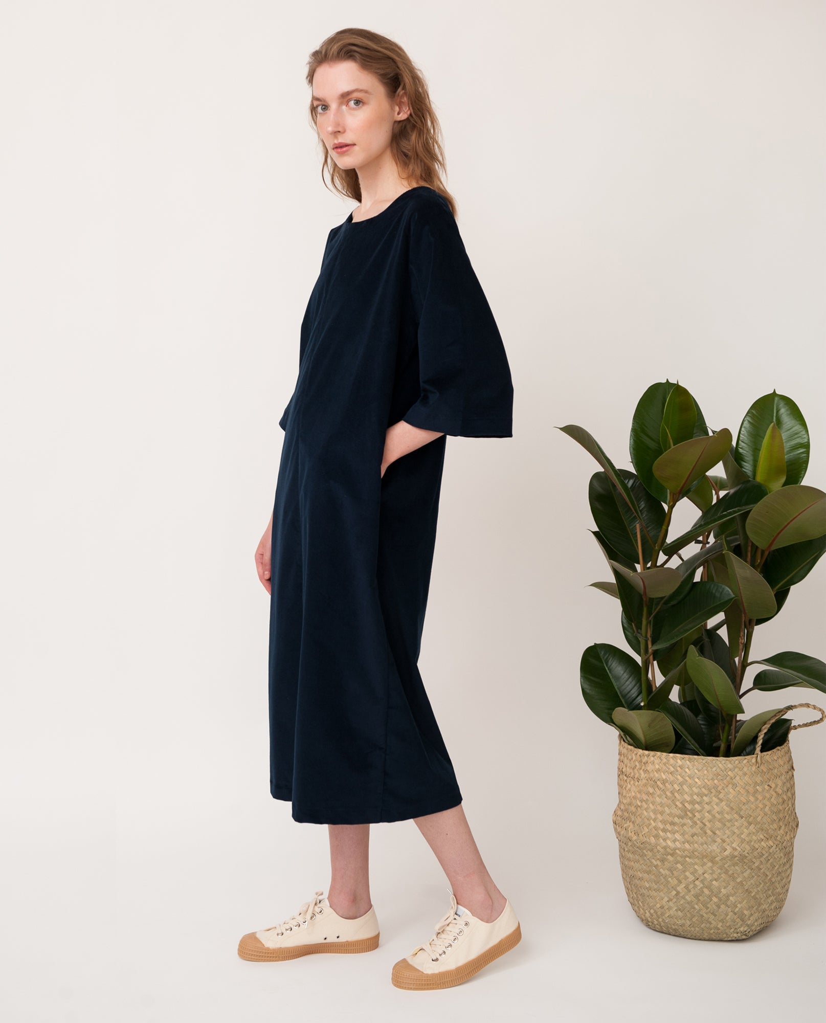DEBORAH Organic Cotton Cord Dress In Navy