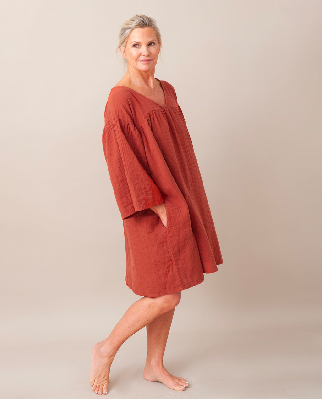 DYLLA Organic Cotton Nightie In Cinnamon