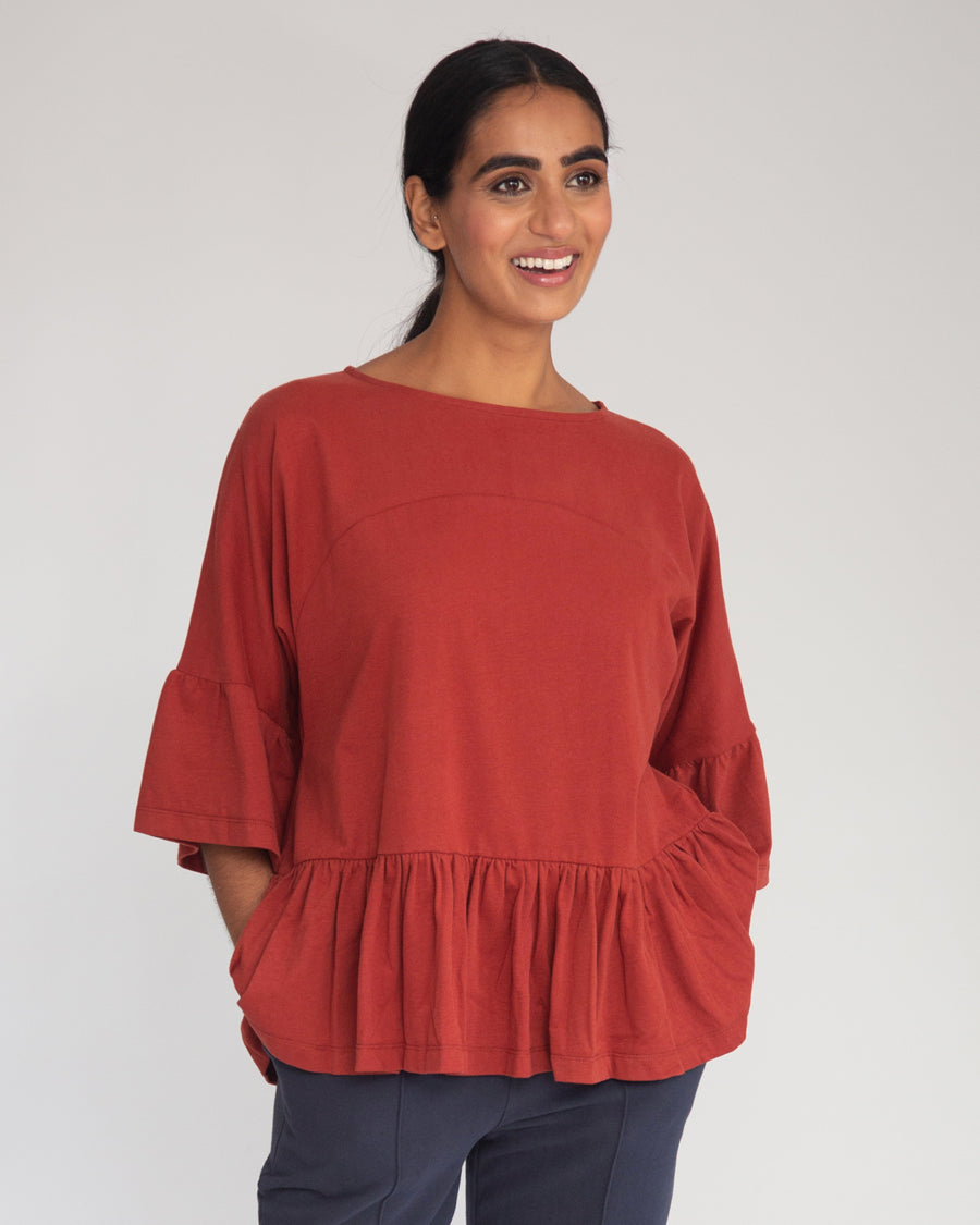 Ellice Organic Cotton Top In Rust