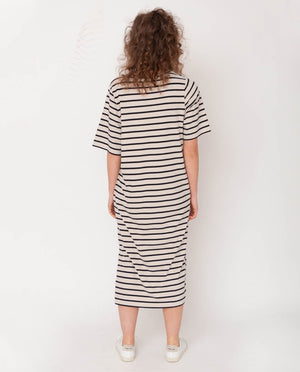 Ellie-Sue Organic Cotton Dress In Bone Marl & Black