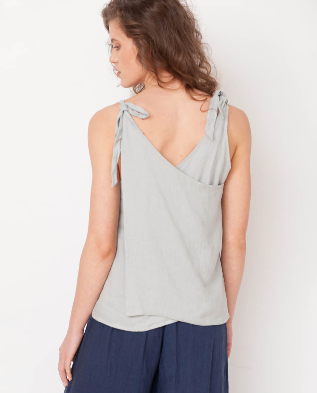 Emma-May Organic Cotton & Linen Top In Dove