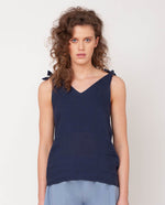 Emma-May Organic Cotton & Linen Top In Midnight