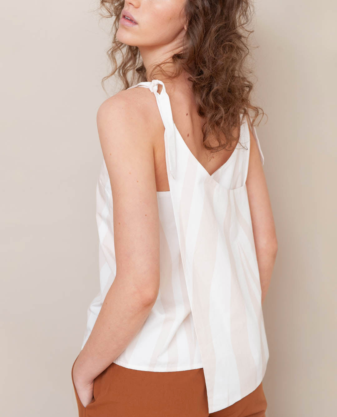 Emma-Paige Organic Cotton Wrapped Top In Off White & Bone