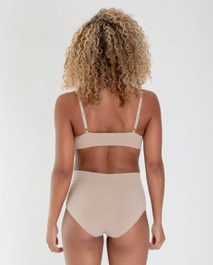 Endija Organic Cotton High Waisted Briefs In Nude